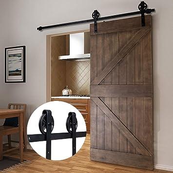 Bonnlo - Juego de herramientas para puerta corredera de granero (200 cm), color negro: Amazon.es: Bricolaje y herramientas