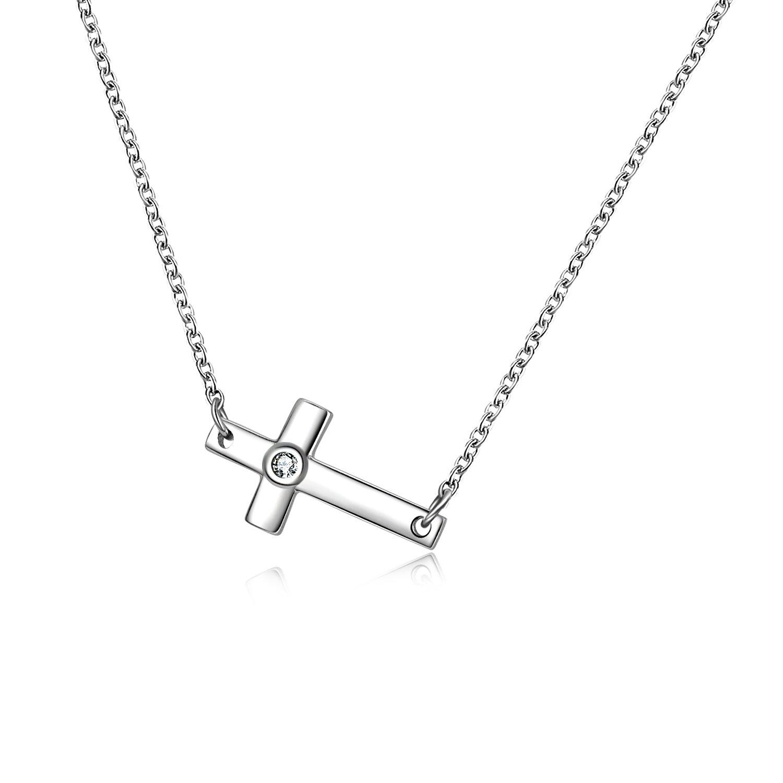 POPLYKE Sterling Silver Sideways Cross Choker Necklace for Women Girls (Sideways Cross Choker Necklace)