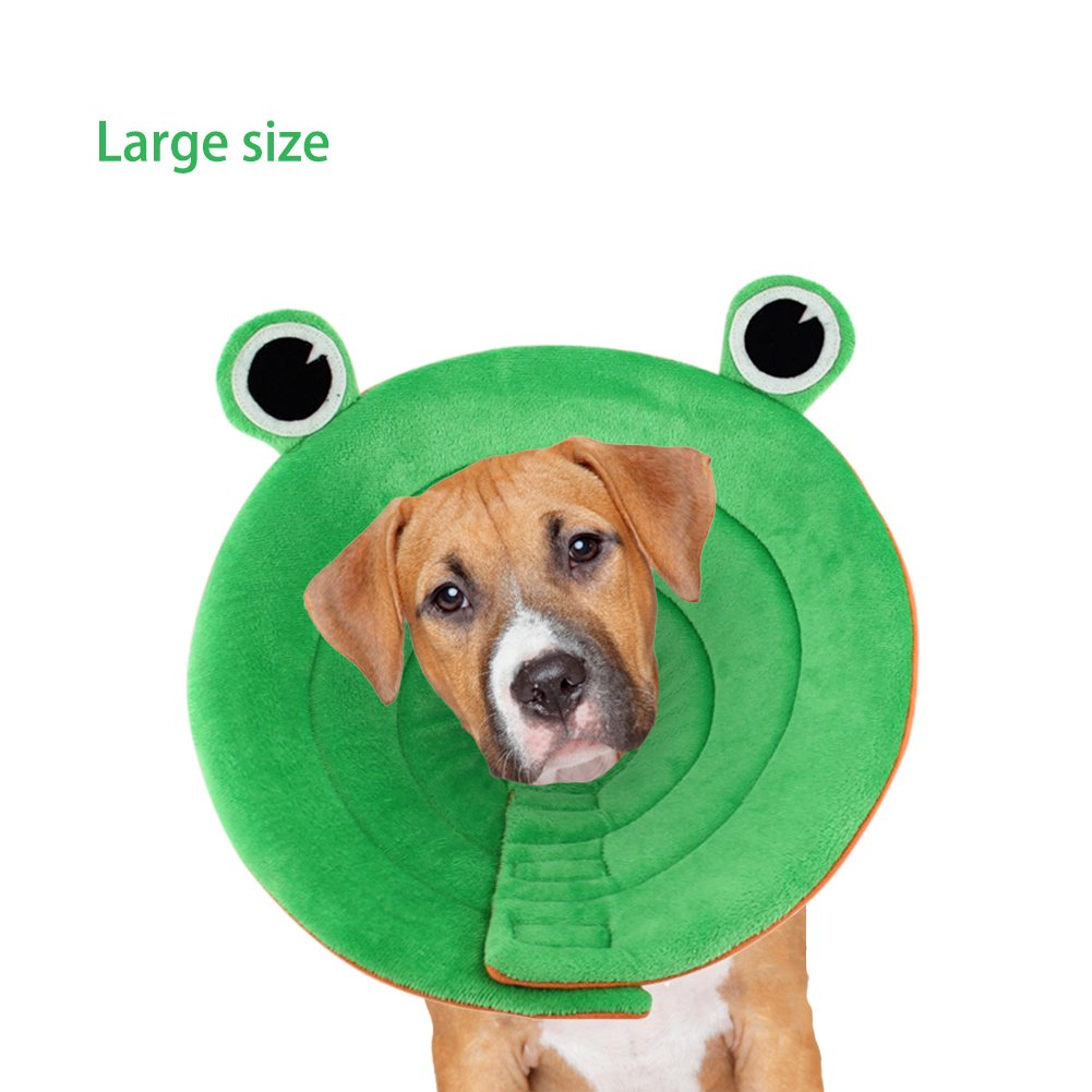 Recovery Cone Soft for Cats and Small Dogs Anti-Bite Lick, Wound Healing, Breathable Soft Frog Pattern Design, Neck Girth 10.2-12.2 Inch