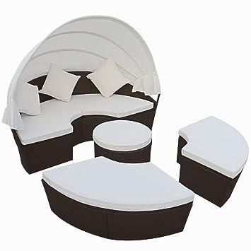 Anself Salon de Jardin Résine Tressée 4PCS Rond Chaise Lounge ...