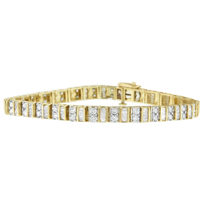 10K Yellow Gold Baguette and Round Cut Diamond Tennis Bracelet (4 cttw, G-H Color, SI1-SI2 Clarity) by Original Classics