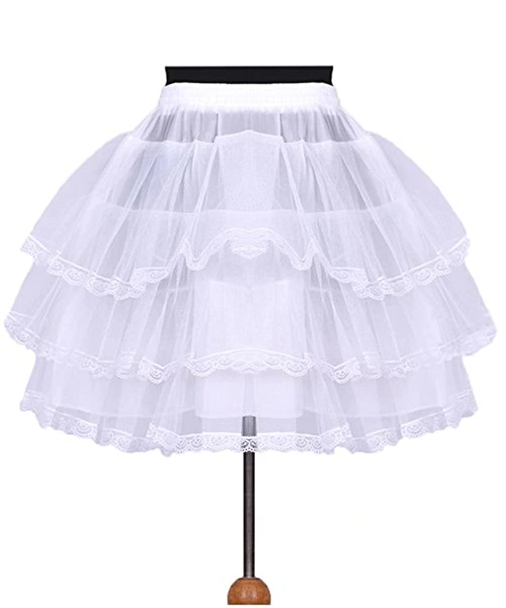 Sapphire Bridal Sab 3 Layer Lace Edge Short Peetticoat Hoopless Flower Grils Petticoat P33 SABP33-white