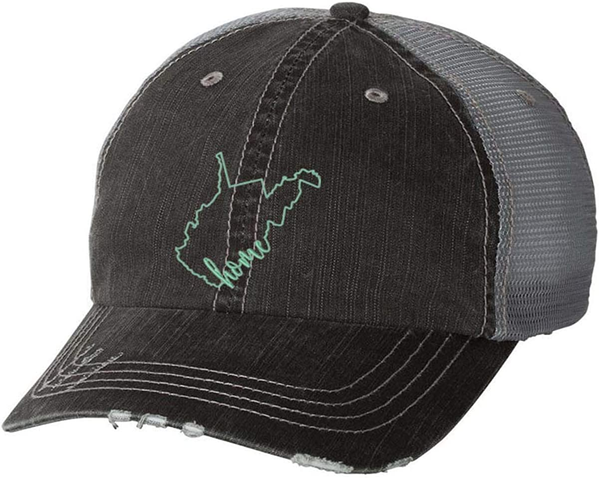 Women's Home State Pride State Outline Distressed Baseball Cap