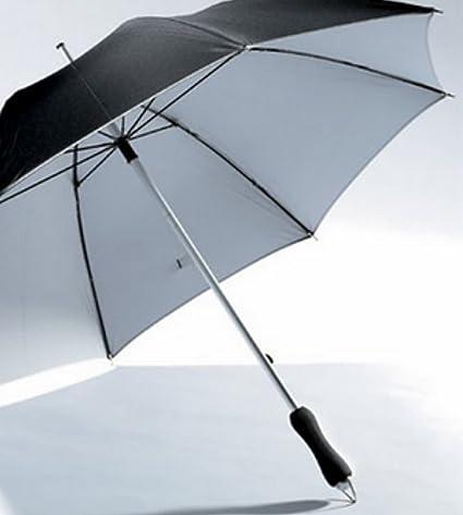 Diseño Aluminio fibra de vidrio pantalla Bastón de hombre Stock Mujer paraguas negro plata aluminio nuevo