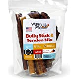 Bully Sticks and Beef Tendons - All Natural American Free Range Angus Beef Dog Chews - Fully Digestible Pet Treats - Promotes Dental Health