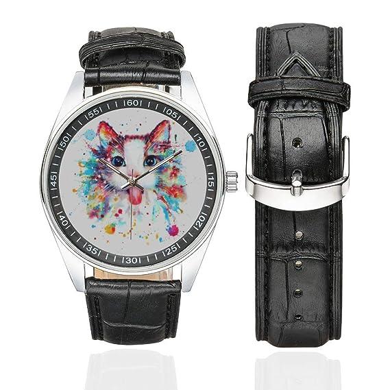 Reloj de Pulsera para Amantes de los Gatos, con Correa de Piel ...