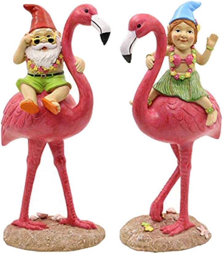 Gnomes Riding Flamingo Garden Statue, Adorable Hawaii Gnome Figurine Yard Ornamen, Flamingo Garden Décor, Beach Party Decorations, for Summer Outdoor Patio Lawn Decorations,11 inches (2 Packs)