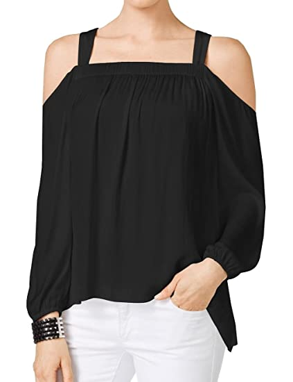 e4a3f71b8 Vince Camuto Womens Sateen Cold Shoulder Blouse Black S at Amazon Women's  Clothing store: