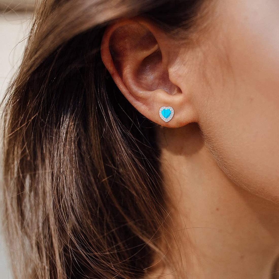 Agvana Christmas Gifts Sterling Silver Created Heart//Oval Blue Turquoise Halo CZ Small Stud Earrings Elegant December Birthstone Jewelry Gifts for Mom Grandma Women Girls