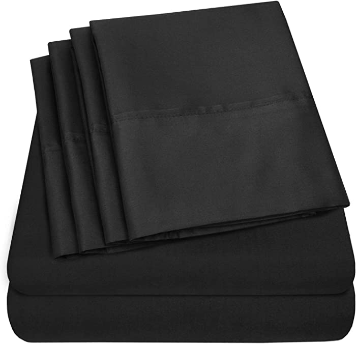 Sweet Home Collection 6 Piece Bed Sheets 1500 Thread Count Fine Microfiber Deep Pocket Set-EXTRA PILLOW CASES, VALUE, Twin, Black