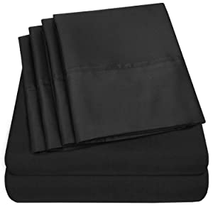 Sweet Home Collection Sheets 6 Piece 1500 Thread Count Deep Pocket Hypoallergenic Brushed Microfiber Soft and Comfortable Bedding Set, Queen, Black
