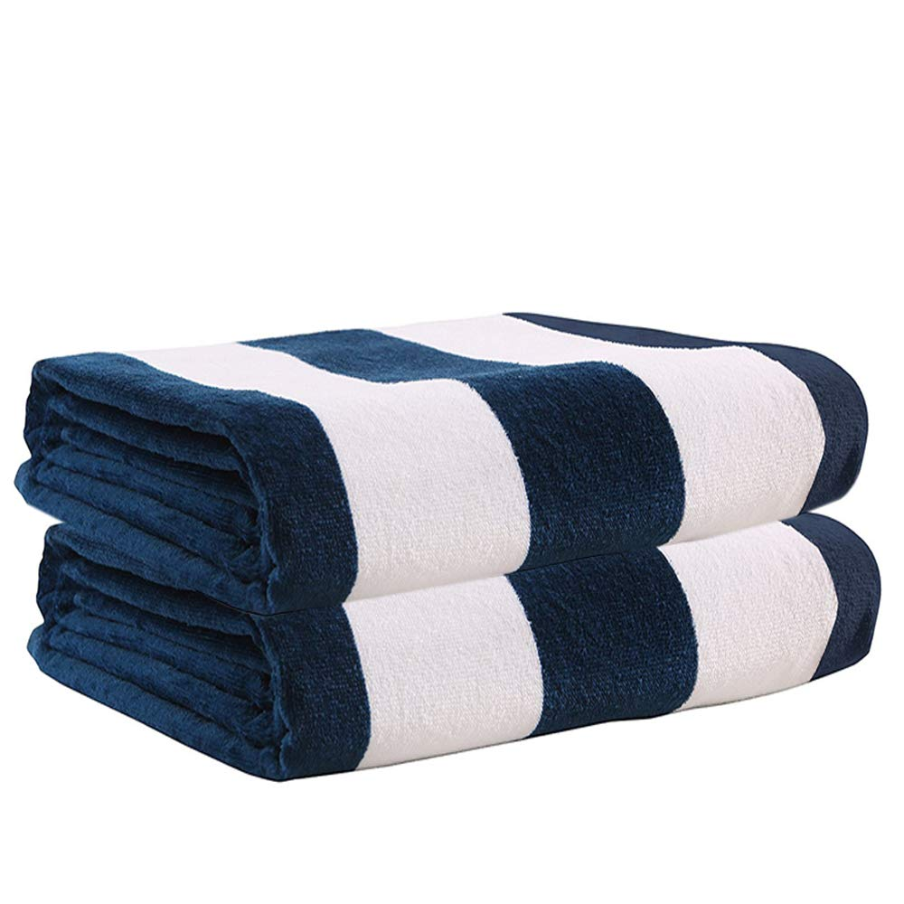 Exclusivo Mezcla 100% Cotton Oversized Large Beach Towel Sets,Pool Towel (Cabana Stripe,2 Pack,35''x70'')-Soft, Quick Dry, Lightweight, Absorbent, and Plush