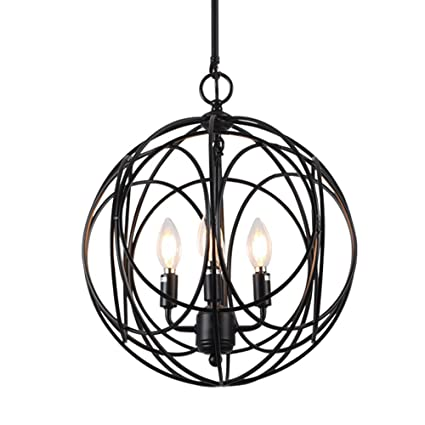 Horisun 4 Lights Industrial Vintage Lighting Sphere Chandelier E12