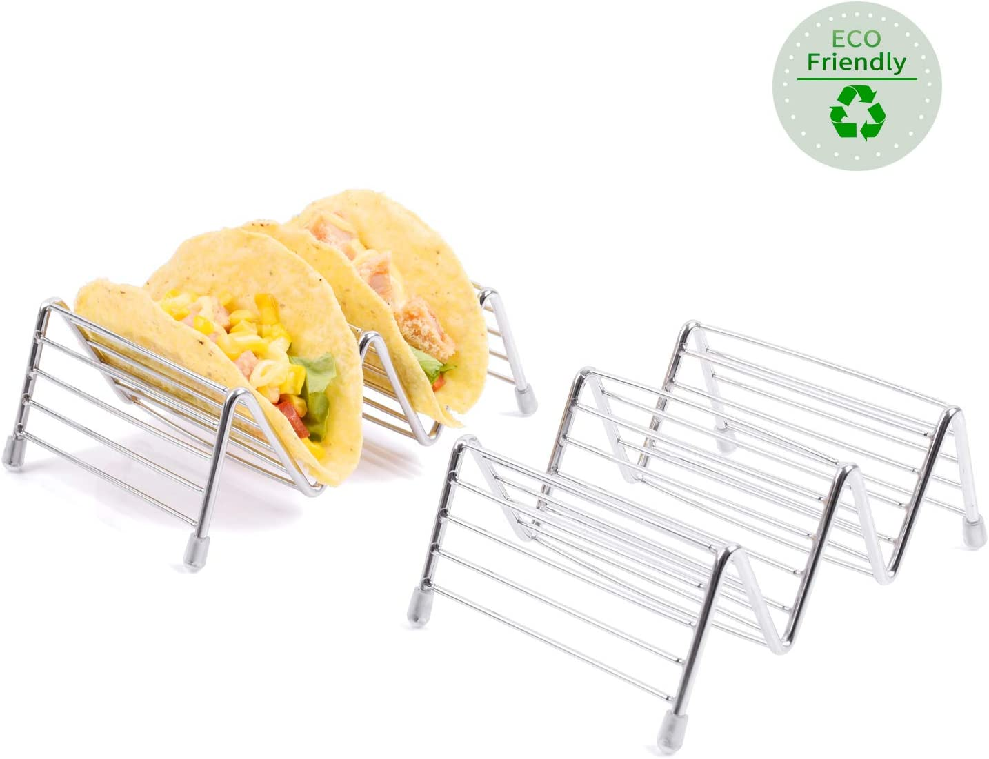 2 Pack Premium Taco Holder Stands,Stainless Steel Taco Holds Up To 2 or 3 Tacos Each as Rack,Oven Safe for Baking,Dishwasher and Grill Safe,Racks Hold Soft /& Hard Shell Tacos,Easy To Fill Taco Rack