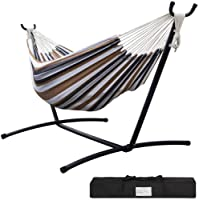 GREARDEN Double Hammock with Space Saving Steel Stand Includes Portable Carrying Case 450 Pounds Capacity Indoor or Outdoor Patio Yard and Porch Desert Stripe