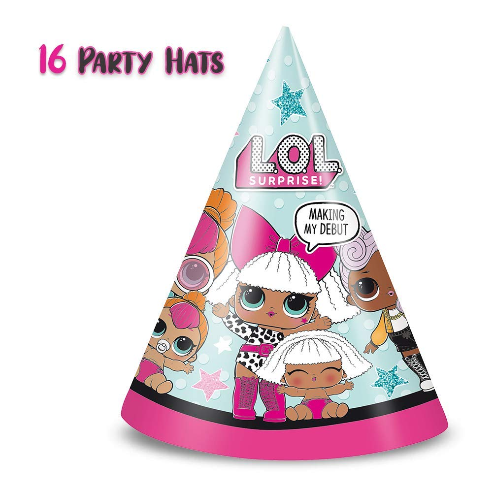 LOL Suprise Party Supplies, Serves 16 - Plates, Napkins, Tablecloth, Cups, Straws, Balloons, Tattoos, Birthday Hats - Full Tableware, Decorations, Favors for L.O.L Collectors by HeroFiber (Image #4)