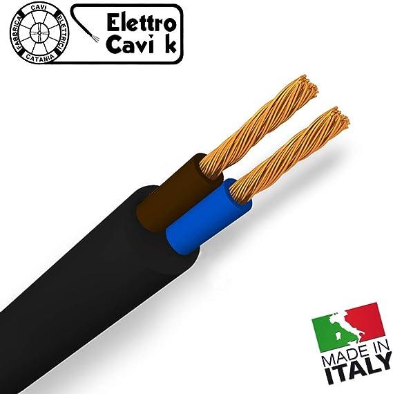 CAVO H05VV-F GOMMATO BIANCO 2x0,50 mm/² BIPOLARE 2 POLI 2x0.50 SIMILGOMMA FLESSIBILE 10 METRI /® ELETTRO CAVI K