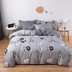 Mengersi Animal Grid Bedding Duvet Cover Set for Boys Girls Gift (Twin, Gray)