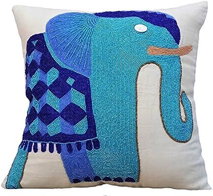 The HomeCentric Azul Fundas para Cojines 55 x 55 cm, Sabana de algodon Fundas para Cojines, Azul Fundas para Cojines - Blue Elephant: Amazon.es: Hogar