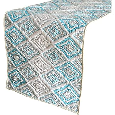 The HomeCentric Handmade, Designer, Decorative Table Runners - White, Light Blue - 14 x 72 inch - Cotton - Trandi Blue & White Quilted Runner, Cotton Printed Runner with Quilting Wedding Table Linen