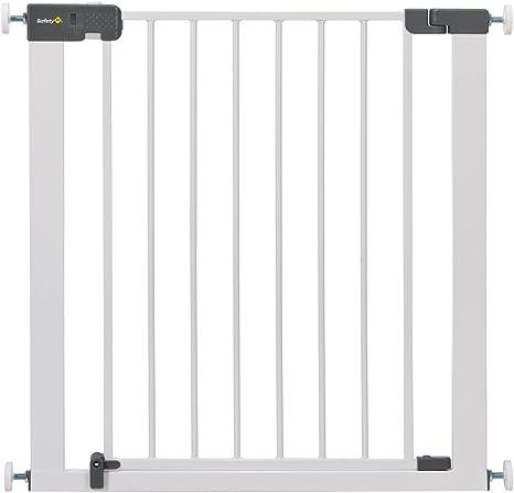 Puerta de seguridad con reja para escaleras Quick Close Plus de Safety 1st, metal extraseguro, puerta con reja de protección, fijación sin tornillos, color blanco, extensible hasta 136 cm: Amazon.es: Bebé