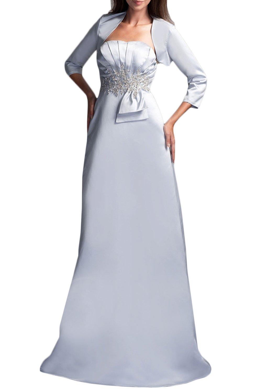 (ウィーン ブライド)Vienna Bride 披露宴用母親ドレス ロングドレス 結婚式母親用ドレス 新婦の母ドレス 七分袖 ベスト付き Aライン ビスチェ アップリケ ひだ カラードレス ブルー 青緑 スイカレッド エレガント B07CHXL4LC 15|シルバー シルバー 15
