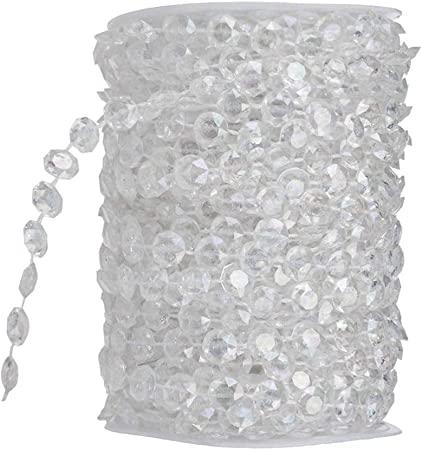 Clear Crystal Garland Crystal Beads for Chandelier 4 M Clear Glass Beads Lamp Chain for Wedding Party DIY Decoration (Clear Glass Beads)