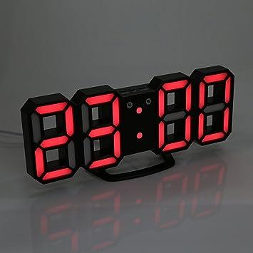 SYT Alarm Clock Relojes de Alarma LED 3D Digital 24/12 Horas Función de dormitar la luz de Noche para la Oficina de Cocina casera, Negro y Rojo: Amazon.es: ...