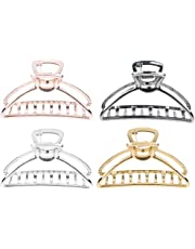 Fityle 4Pcs Women's Metal Alloy Hair Jaw Claw Clip Thick Hair Clamp Hair Accessory