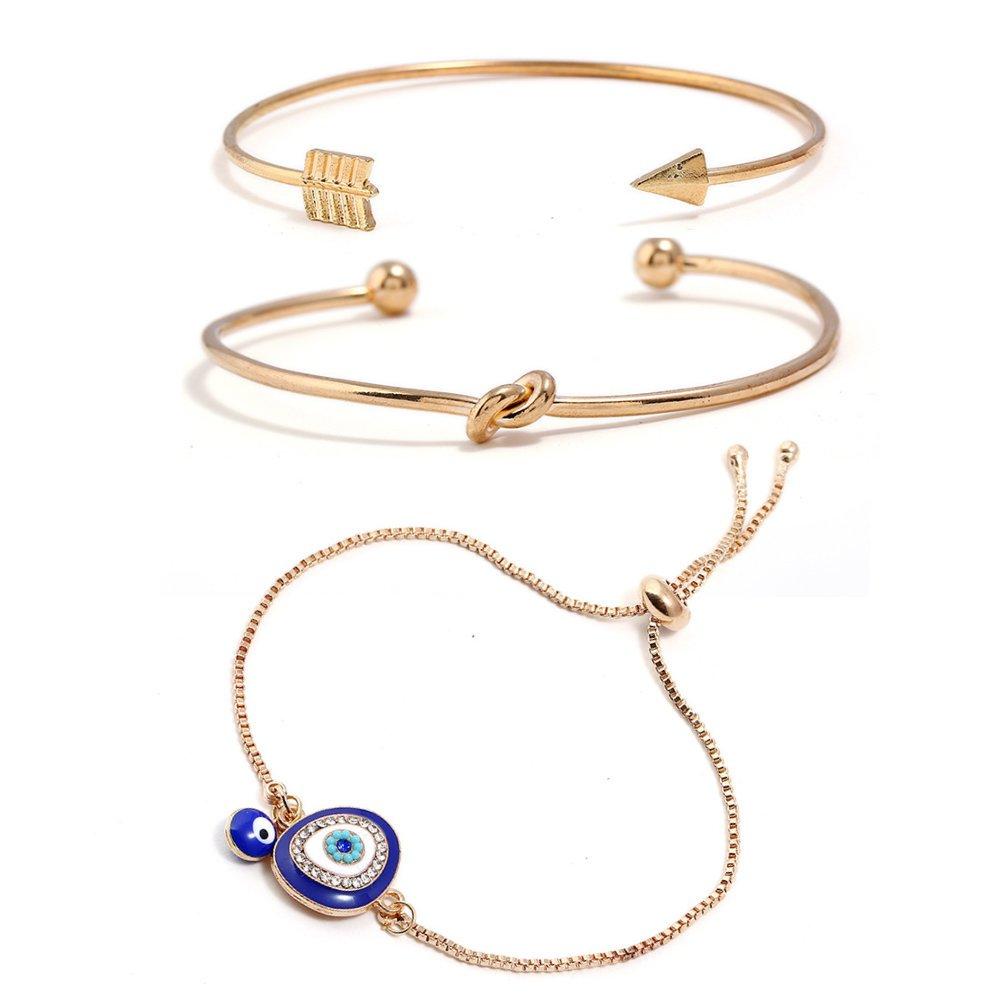 ISAACSONG.DESIGN Bohemian Stackable Turquoise Bead Stone Evil Eye, Love Knot Charm Bolo Chain Link Bangle Bracelet Set for Women (Round Evil Eye & Love Knot Bangle Set)