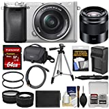 Sony Alpha A6300 4K Wi-Fi Digital Camera & 16-50mm (Silver) 50mm f/1.8 Lens + 64GB Card + Case + Battery & Charger + Tripod + Filters + Kit