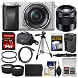 Sony Alpha A6300 4K Wi-Fi Digital Camera & 16-50mm (Silver) with 50mm f/1.8 Lens + 64GB Card + Case + Battery & Charger + Tripod + Filters + Kit