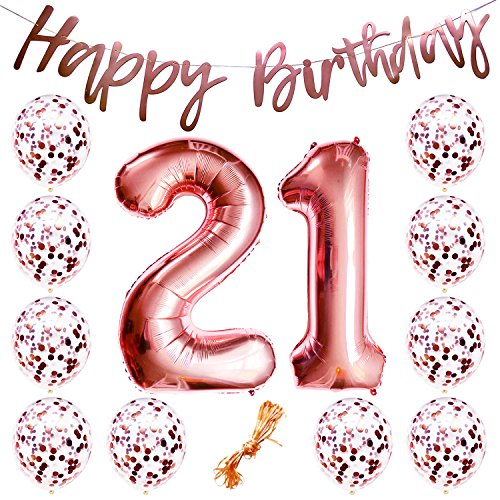 21st Birthday Party Decorations Rose Gold Decor Strung Banner (Happy Birthday) & 12PC Helium Balloons w/Ribbon [2pc Huge Numbers