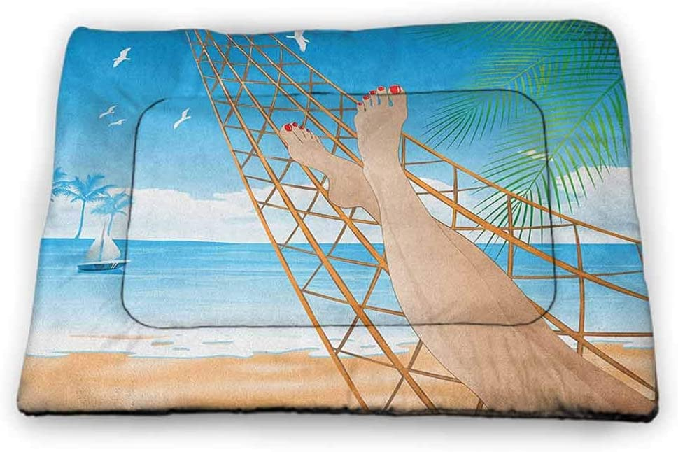 "Yucou Beach Pad Pet Legs of The Sexy Lady Laying in The Hammock Toward The Ocean in Hawaiian Tropical Insulated Self-Heating Pet Mat Cream Blue 21""x14"""