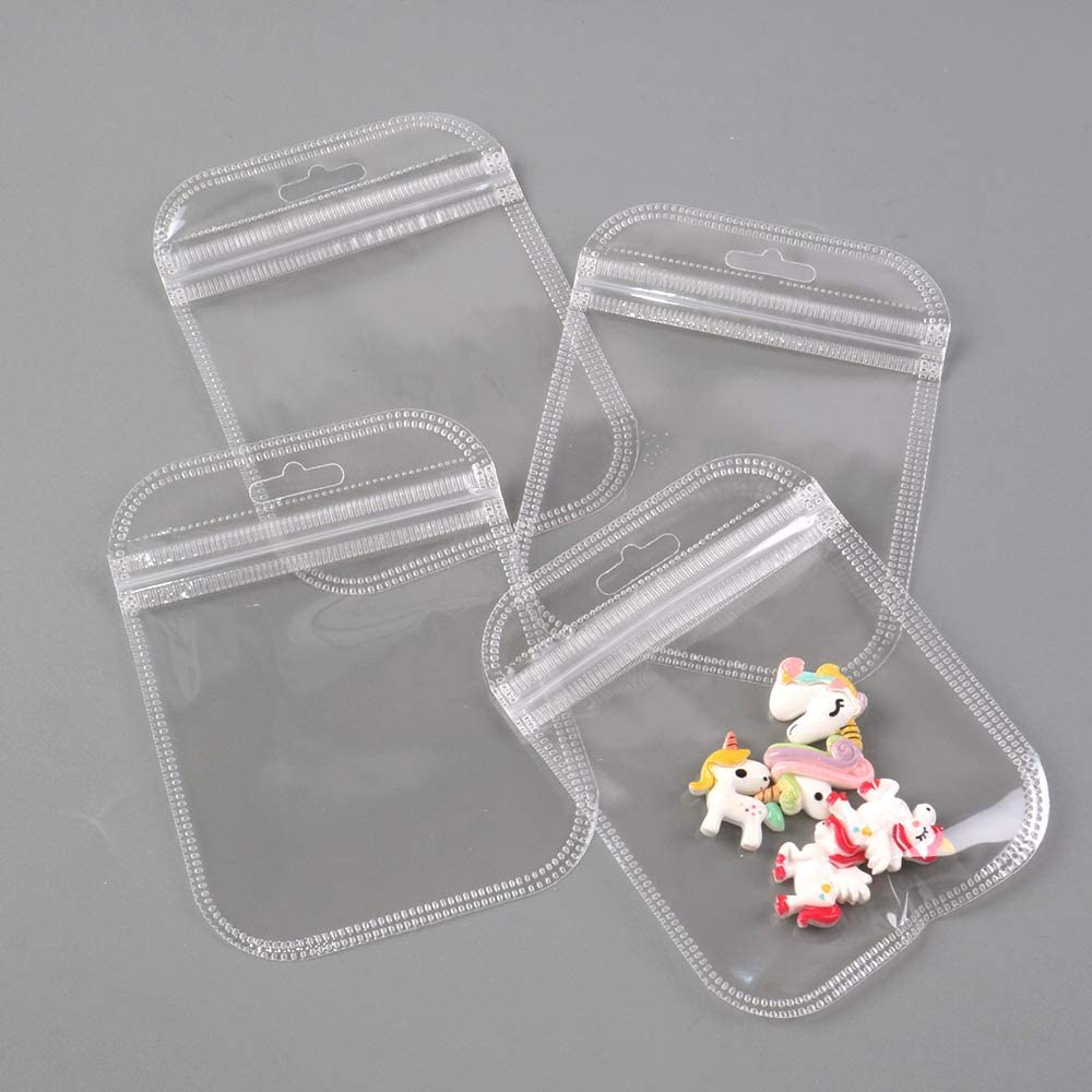 Clear David Angie 50 Pcs Transparent PVC Clear Plastic Ziplock Package Bags Self Seal Packaging Pouch Waterproof for Jewelry Earrings Storage