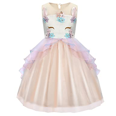 Girls Kids Flower Bridesmaid Unicorn Dress Party Princess Prom