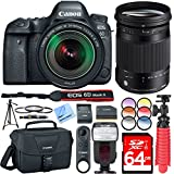 Canon EOS 6D Mark II 26.2MP Full-Frame Digital SLR Camera with EF 24-105mm IS STM Lens And Sigma 18-300mm F3.5-6.3 DC Contemporary Lens, Pro Canon Bag, Wireless Remote Plus 64GB Filter Bundle