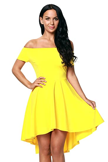 d6afd6a636 Yellow Women Off Shoulder Sleeve High Low Skater Dress at Amazon ...