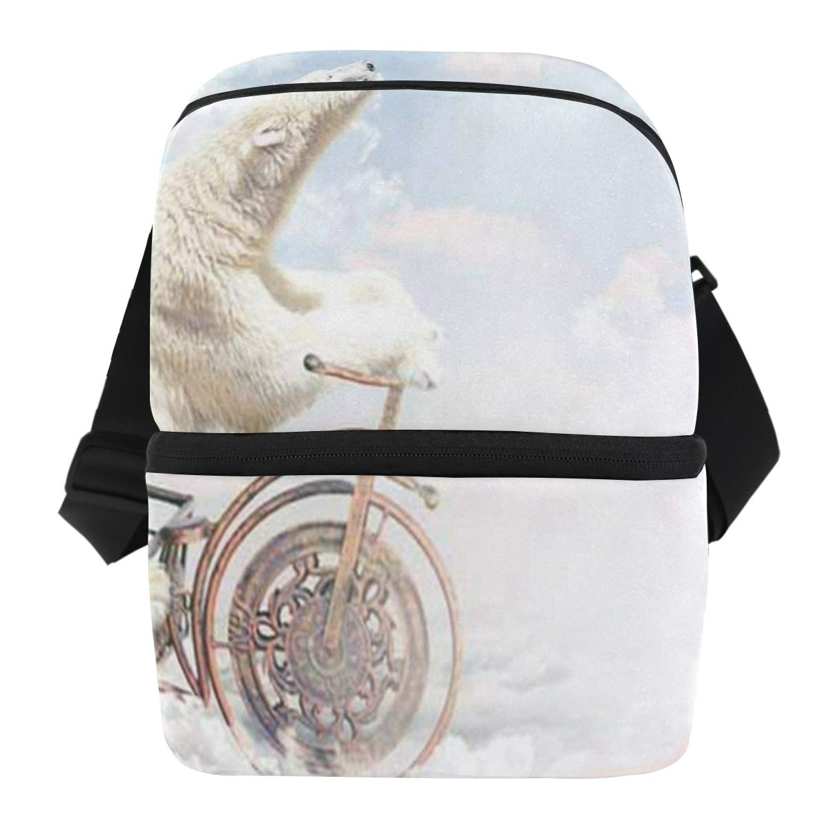Lunch Bag Polar Bear Above The Clouds Portable Cooler Bag Adult Leakproof refrigerator Organizer Zipper Tote Bags for Picnic