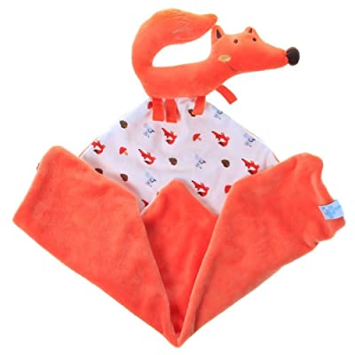 Labebe Infant Baby Toddler Manta Comfort / Safety para Niñas y Niños con Felpa de Peluche y Sonajero, Mordedor de Viaje, Bedtime Cuddle Soother Toy - Orange Fox: Bebé