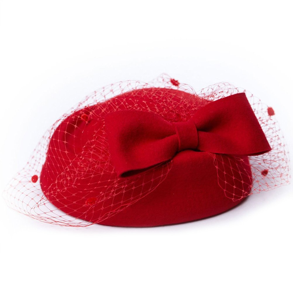 LEORX Lady Dress Fascinator Wool Felt Pillbox Hat with Bow Veil (Red)