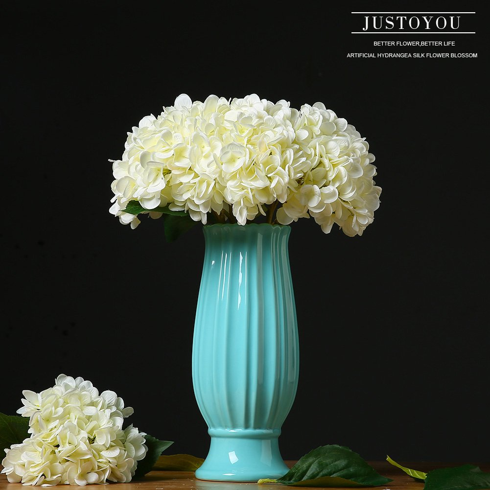 Amazon Justoyou 4pcs Artificial Hydrangea Silk Flower Blossom