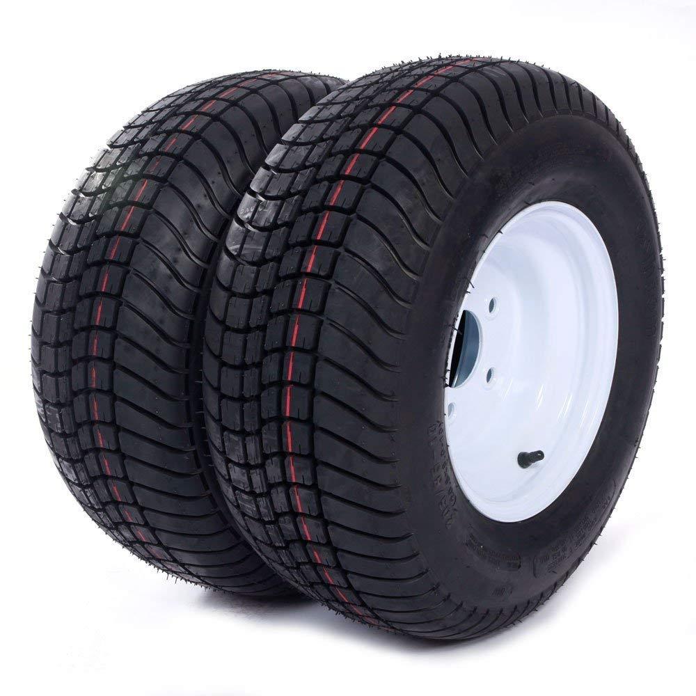 Million Parts 2 Trailer Tires Rims 20.5 x 8.0-10-6PR P825 205/65-10 20.5/8-10 20.5/800-10 5 Lug White Spoke by MILLION PARTS
