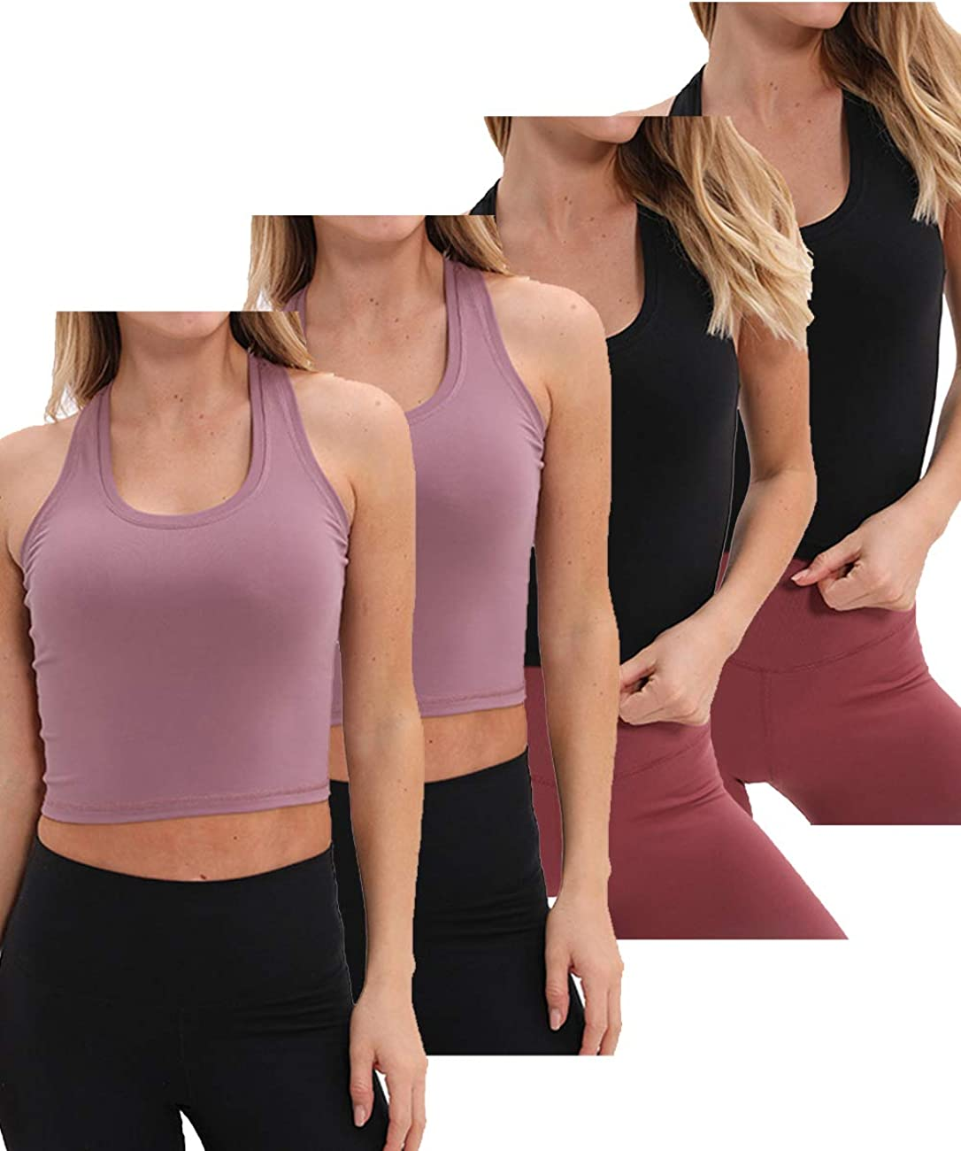 Geyoga 8 Pieces Basic Crop Tank Tops Sleeveless Racerback Crop Sport Cotton Top for Women