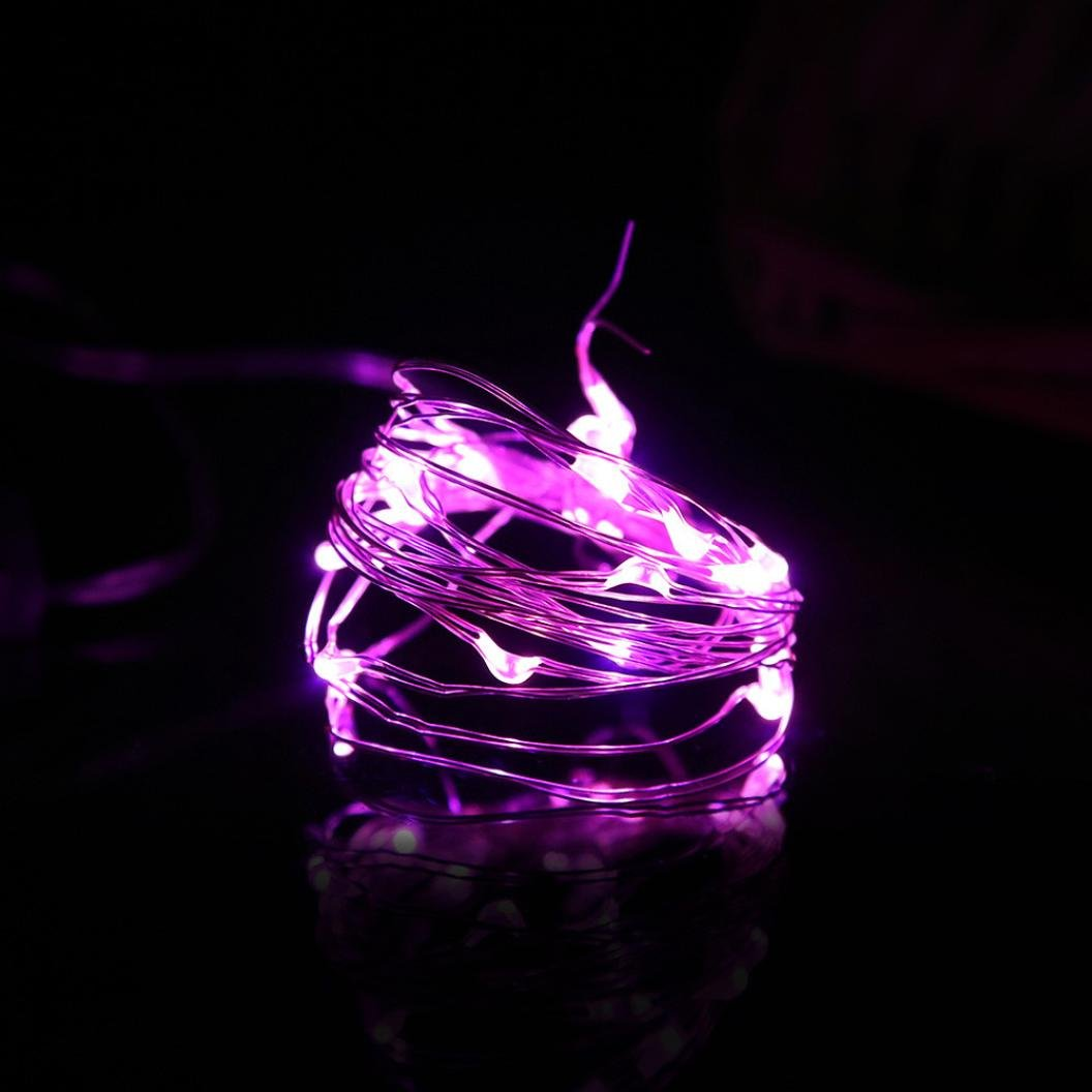 LiPing 2M 20 LED Button Cell Powered Silver Copper Wire Mini Fairy String Lights BU For Wedding Party Hot For Christmas Party Xmas Wedding Party Garden Decor (Purple)