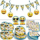 Emoji Party Supplies for 16: Includes Plates, Napkins, Hanging Banner, Swirl Decorations, Centerpieces