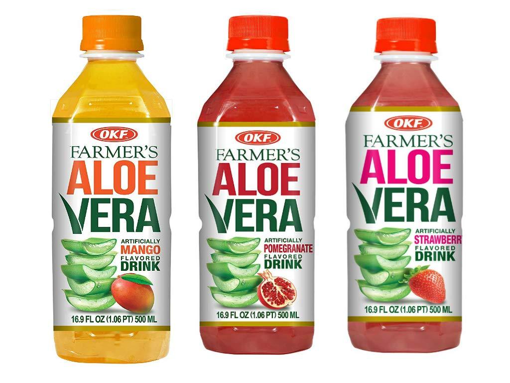 OKF Farmer's Aloe Vera Drink, Mango, Pomegranate and Strawberry, 16.9 Fluid Ounce (Pack of 20 each)