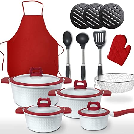GRIDINLUX. Batería de Cocina 22 Piezas. Incluye Accesorios, Materiales Calidad Premium. Resistente, Cerámica y Antiadherente, Utensilios, Set ...