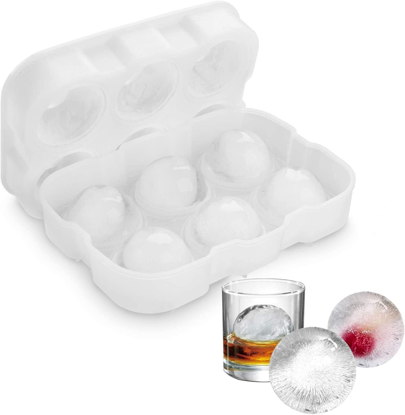 Ice Ball Maker Mold 8-Scotch Ice Balls Silicone Sphere Ice Trays