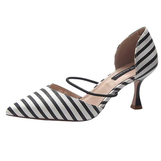 Moda para Mujer Sandalias Puntiagudas Damas Elásticas Lentejuelas Zapatos de Tacón Alto Punto de Onda Rayado Hollow Tacones Altos Zapatos Individuales: ...